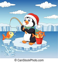 Cartoon penguin fishing on the ice - Vector illustration of...