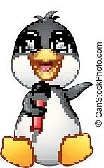 Cartoon penguin hold microphone