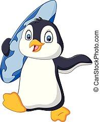 Cartoon penguin holding a surfboard