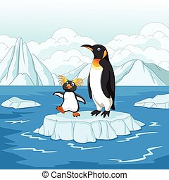 Cartoon penguin playing on ice floe