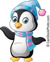 Cartoon penguin presenting