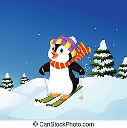 Cartoon penguin skiing down