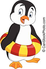 Cartoon penguin with inflatable ring - Vector illustration...