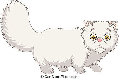 Cartoon Persian cat on white background