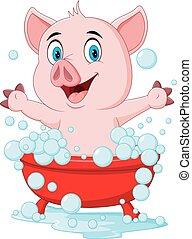 Cartoon pig bathing waving hand - Vector illustration of...