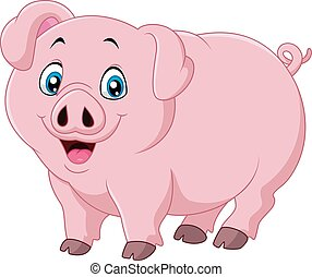 Cartoon pig isolated on white backg