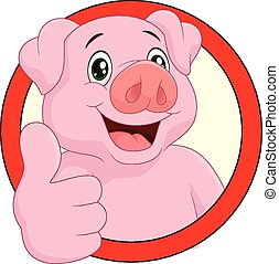 Cartoon pig mascot - Vector illustration of Cartoon pig...