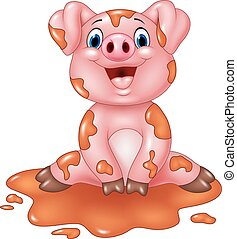 Cartoon pig play in a mud puddle - Vector illustration of...
