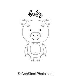 Vector illustration of cartoon pig.