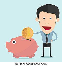 Vector illustration of cartoon piggy bank in flat design