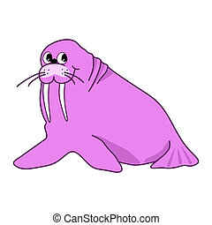 Vector illustration of cartoon pink walrus on white background