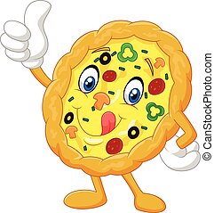 Cartoon Pizza give thumb up