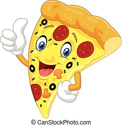 Cartoon pizza giving thumb up