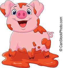 Cartoon play pig slurry - Vector illustration of Cartoon...