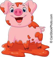 Cartoon play pig slurry - Vector illustration of Cartoon...