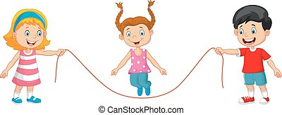 Cartoon Playing jump rope - Vector illustration of Cartoon...