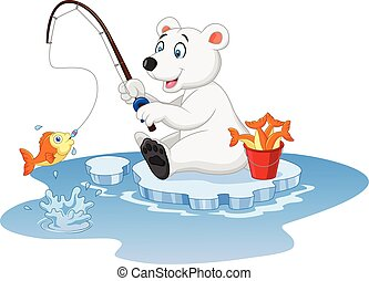 Cartoon polar bear fishing - Vector illustration of Cartoon...