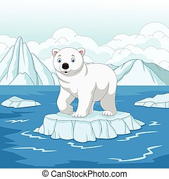 Cartoon polar bear isolated on ice floe
