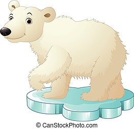 Cartoon polar bear sitting on floe
