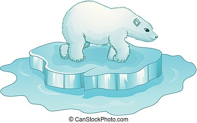 Cartoon polar bear standing on ice floe