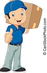 Cartoon postman gives thumb up