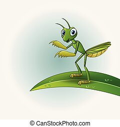 Vector illustration of Cartoon praying mantis on leaf