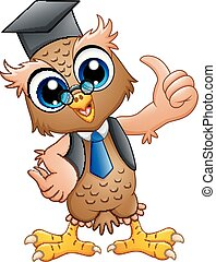 Cartoon professor owl with graduation cap