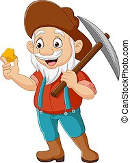Cartoon prospector holding gold nugget and pickaxe