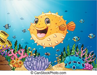 Cartoon puffer fish with sea life