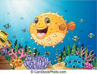 Cartoon puffer fish with sea life
