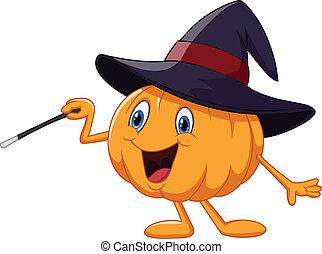 Cartoon pumpkin holding magic wand - vector illustration of...