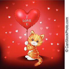 Cartoon puppy holding red heart balloon