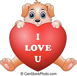 Cartoon puppy holding red heart