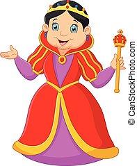 Cartoon queen holding scepter - Vector illustration of...