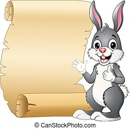 Cartoon rabbit and scroll paper