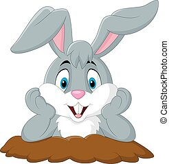 Cartoon rabbit come out of the hole - Vector illustration of...