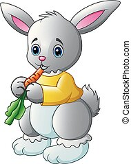 Cartoon rabbit eating a carrot isolated on white background