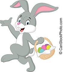 Cartoon rabbit holding easter basket