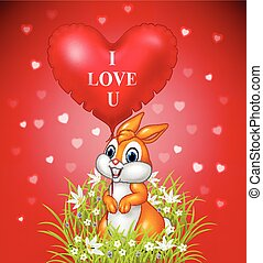 Cartoon rabbit holding red heart balloon