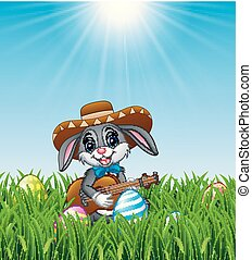 Cartoon rabbit Mexican playing guitar and singing in the grass