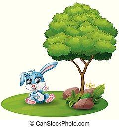 Cartoon rabbit sitting under a tree on a white background