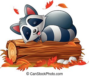 Cartoon raccoon sleeping - Vector illustration of Cartoon...