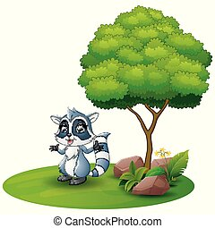 Cartoon raccoon under a tree on a white background
