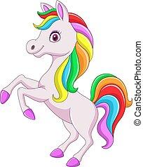 Cartoon rainbow horse isolated on white background