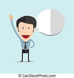Vector illustration of cartoon raise his hand