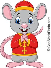 Cartoon rat greeting Gong Xi Gong Xi with Chinese traditional costume. Chinese New Year. Year of the rat