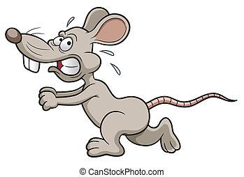 Vector illustration of Cartoon rat running