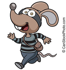 Rat thief - Vector illustration of Cartoon Rat thief running