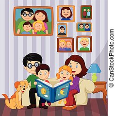 Cartoon read a story book in the li