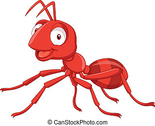 vector illustration of cartoon red ant